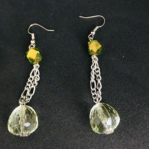 Light green glass earrings
